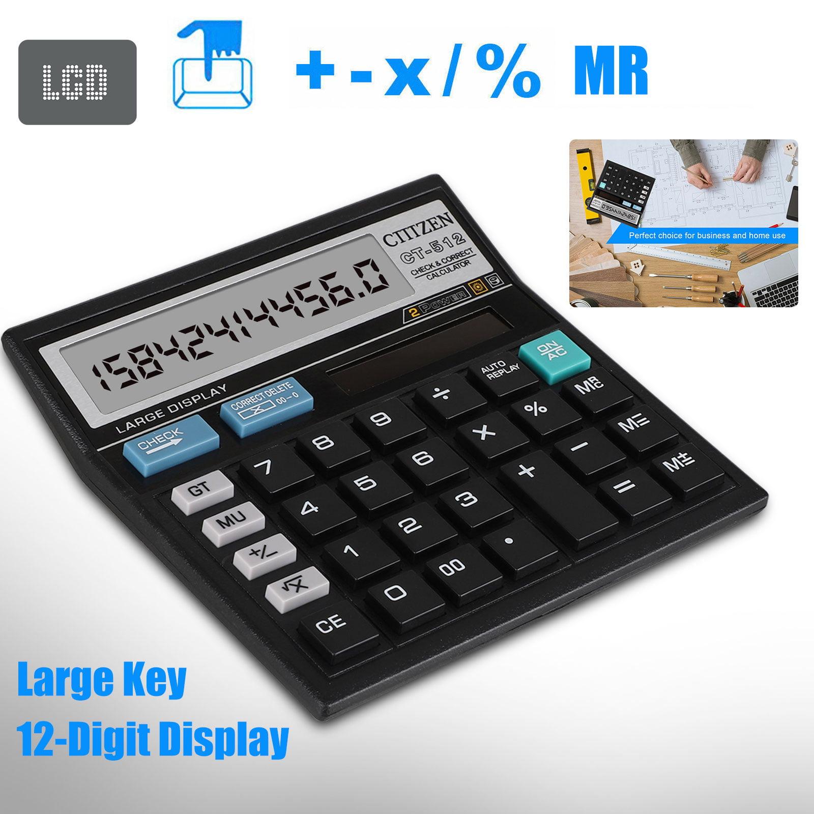 12 Digit Electronic Desktop Calculator Keyboard Keys Large Display Solar Battery Dual Power Basic Office Calculator