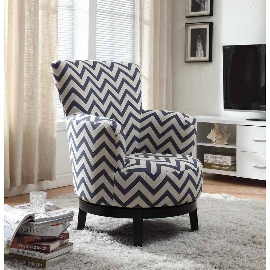 Nathaniel Home Victoria Swivel Accent Chair, Chevron Pattern