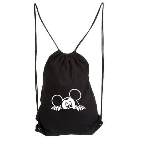 Mickey Mouse Peeking Eco-Friendly Reusable Draw String Bag Black & White