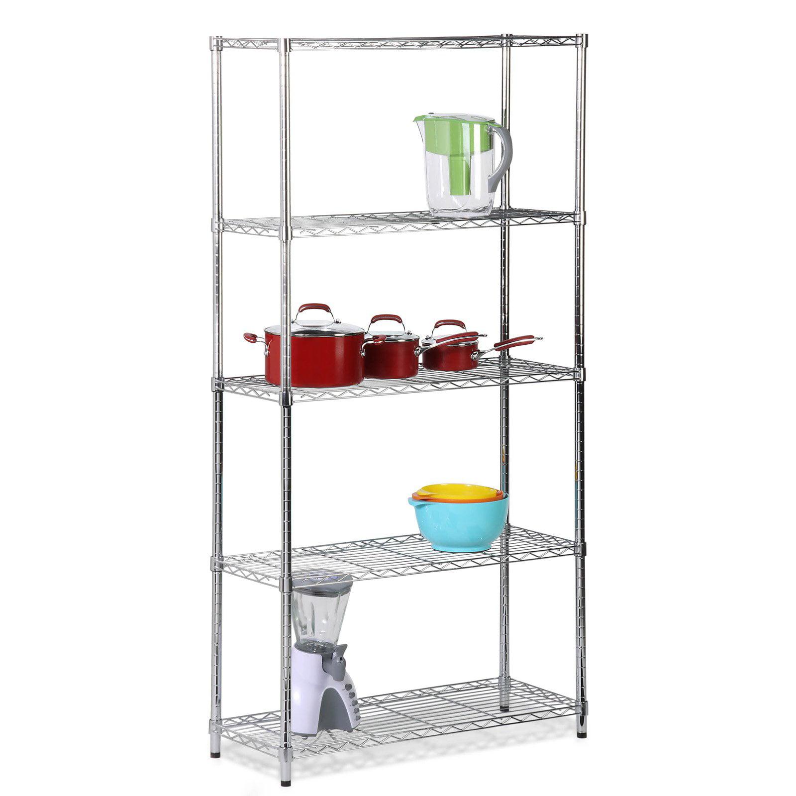 Honey Can Do Urban 5-Shelf Adjustable Steel Storage Shelving Unit, Chrome by Honey Can Do