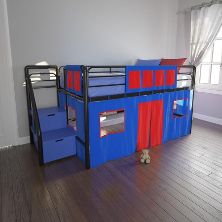 DHP Junior Metal Loft Bed with Storage Steps and Blue Curtain Set, Twin, (Embrace Twin Loft Bed With Storage Steps)