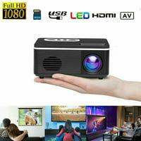 2020 Mini 1080P HD LED Projector HD LCD Video Home Cinema Theater AV HDMI USB (Black)