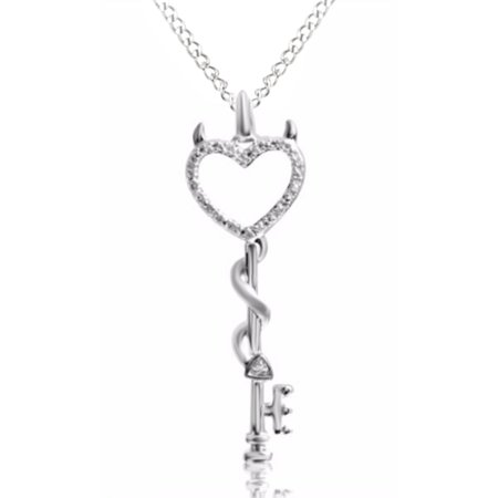 Natural diamond accent devil heart key pendant necklace in 14k white natural diamond accent devil heart key pendant necklace in 14k white gold over sterling silver aloadofball Images