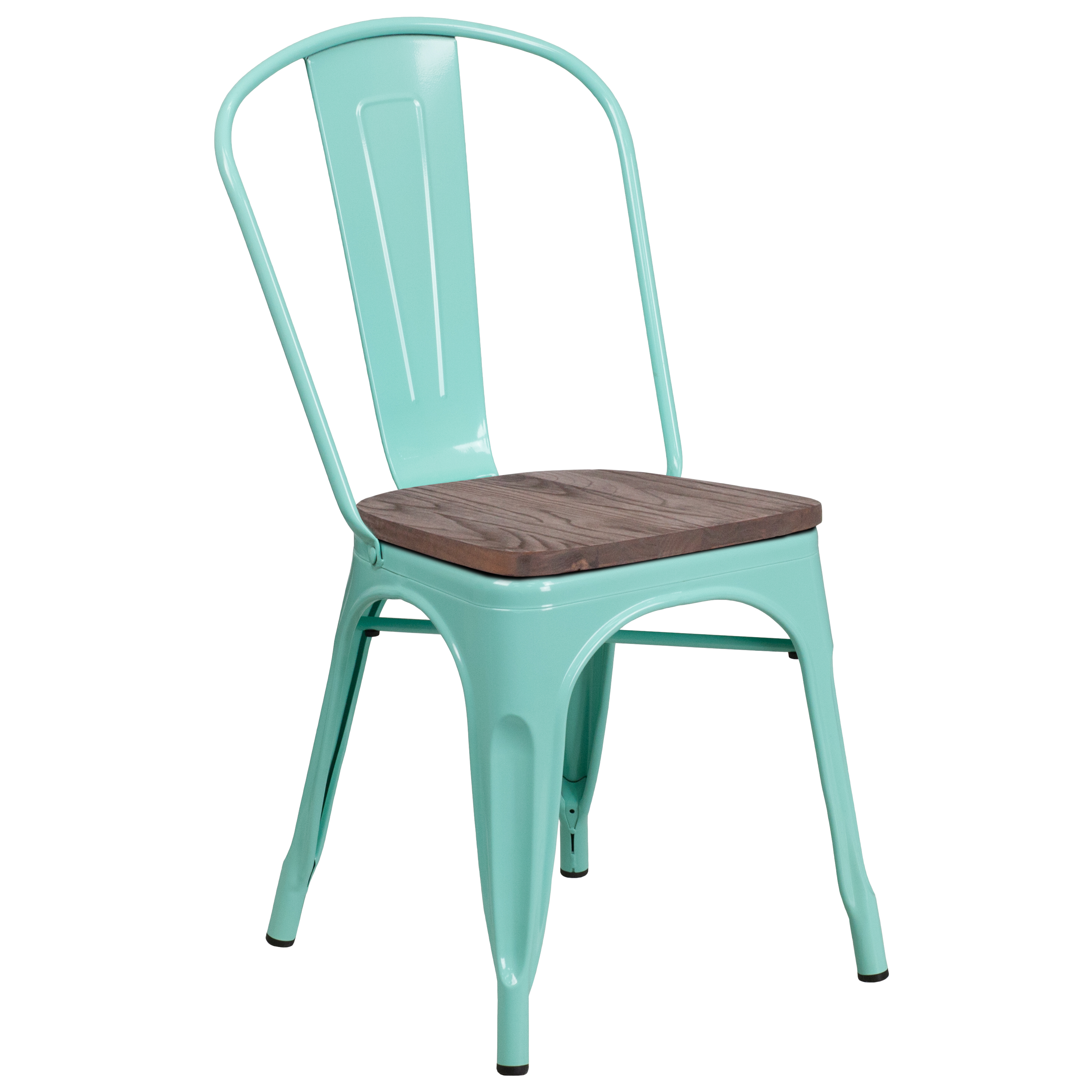 Flash Furniture Mint Green Metal Stackable Chair with Wood Seat