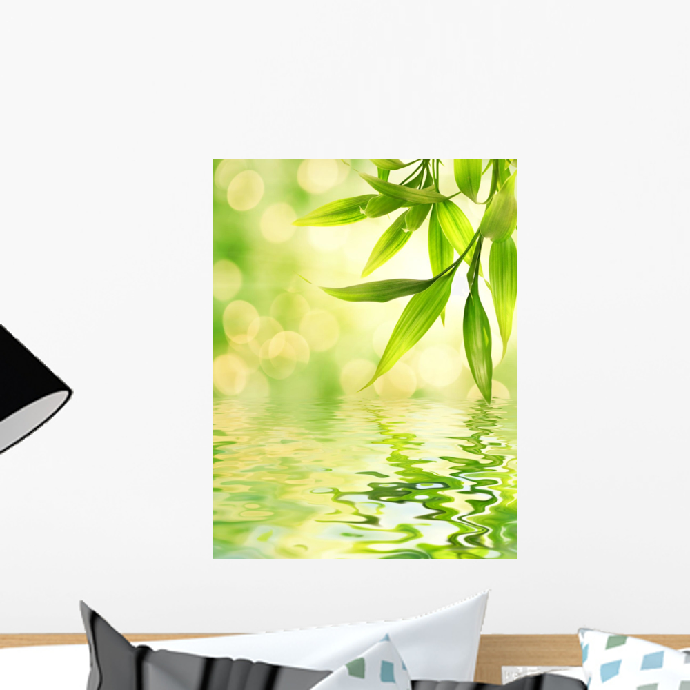 Bamboo Leaves Reflected Rendered Wall Mural by Wallmonkeys Peel and ...
