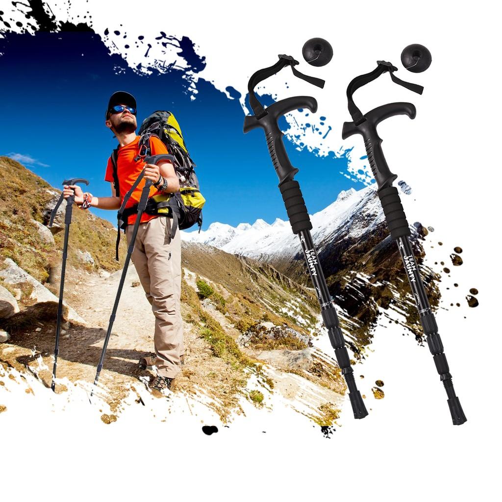 2 PCS Telescopic Walking Pole Trekking Stick Adjustable Outdoor Hiking Black USA
