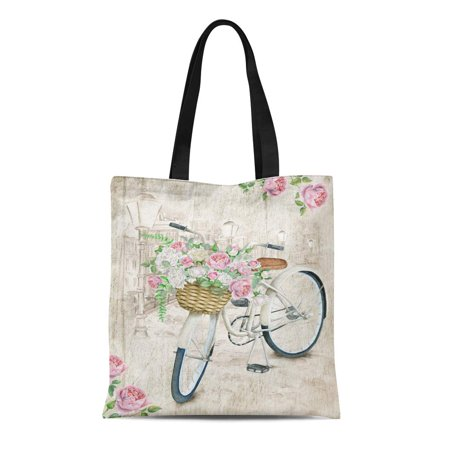 KDAGR Canvas Bag Resuable Tote Grocery Shopping Bags English Watercolor White Bicycle with Beautiful Flower Basket on Vintage City Tote Bag