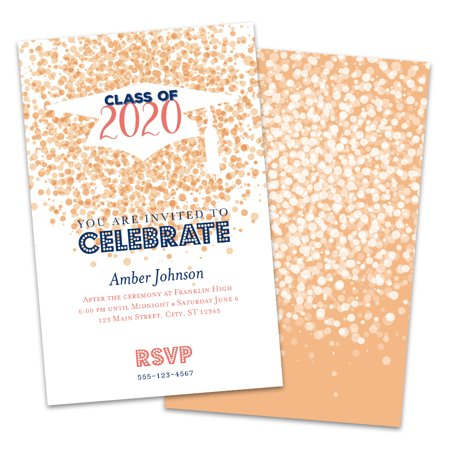 Personalized Confetti Cap Graduation Invitation