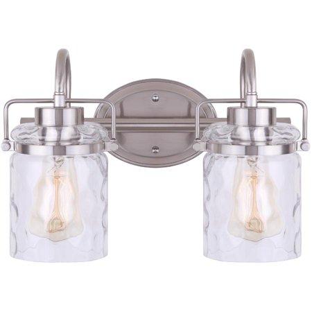 Arden 2 Light Brushed Nickel Vanity Light Fixture With Watermark Glass Walmart Canada