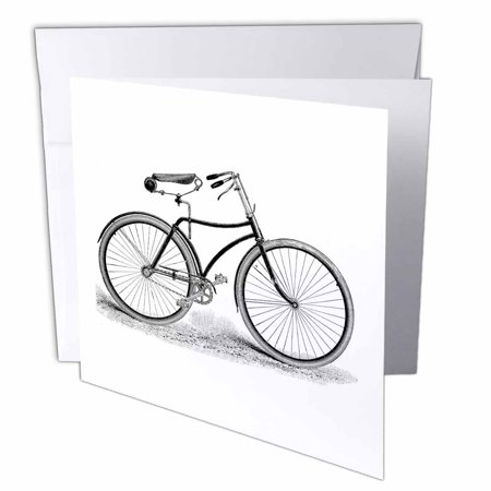 3dRose Black and white vintage bicycle pen and ink drawing print - old-fashioned cycler cycling bike, Greeting Cards, 6 x 6 inches, set of 12