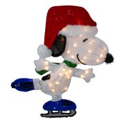 "24"" White and Red Pre-Lit Skating Peanuts Snoopy Outdoor Christmas Decor - Clear Lights"