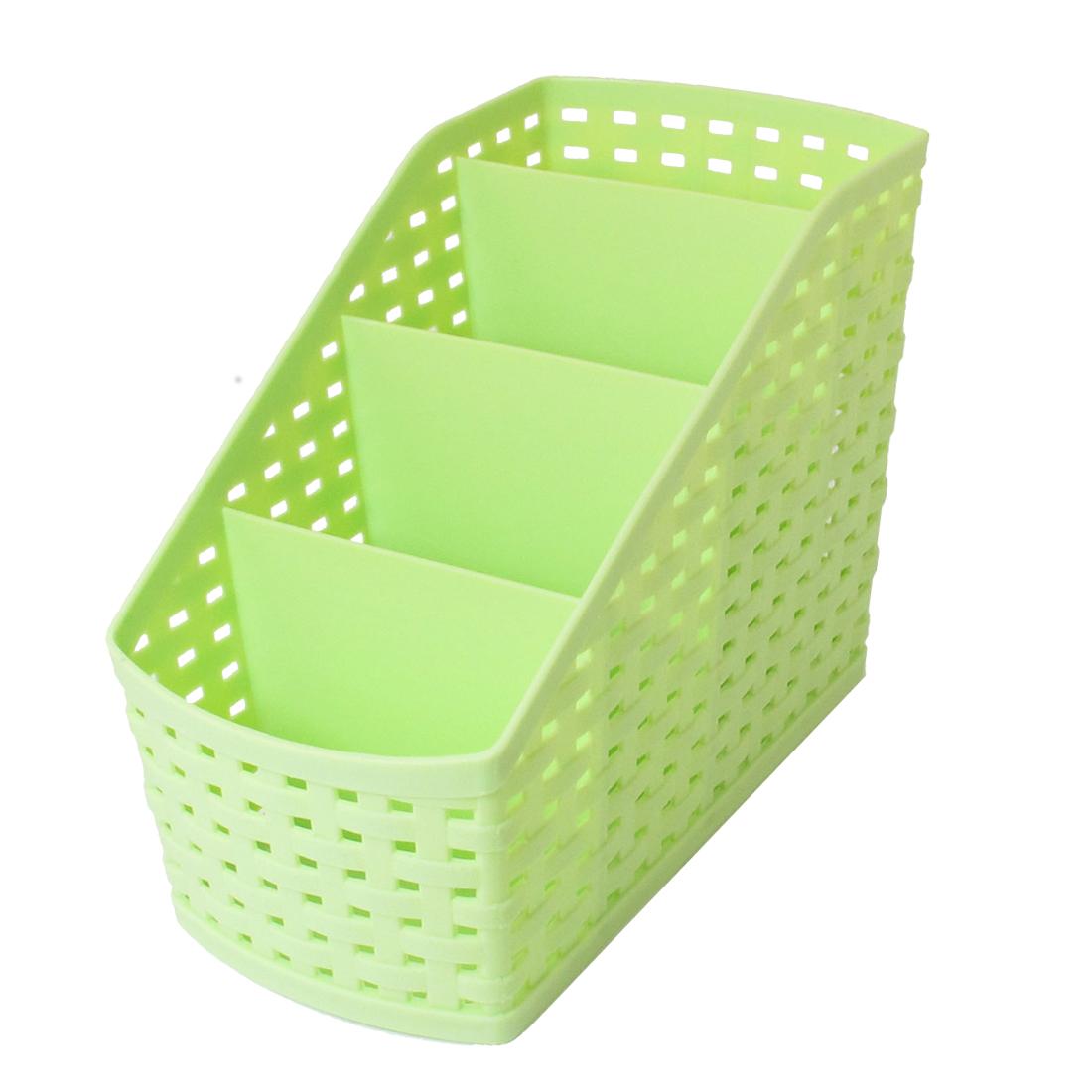 Kitchen Bathroom Toilet Imitation Rattan Design 4 Slots Storage Basket Box Pink