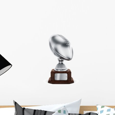 Silver American Football Trophy Wall Decal by Wallmonkeys Peel and Stick Graphic (18 in H x 9 in W) WM48836](Playroom Trophies)