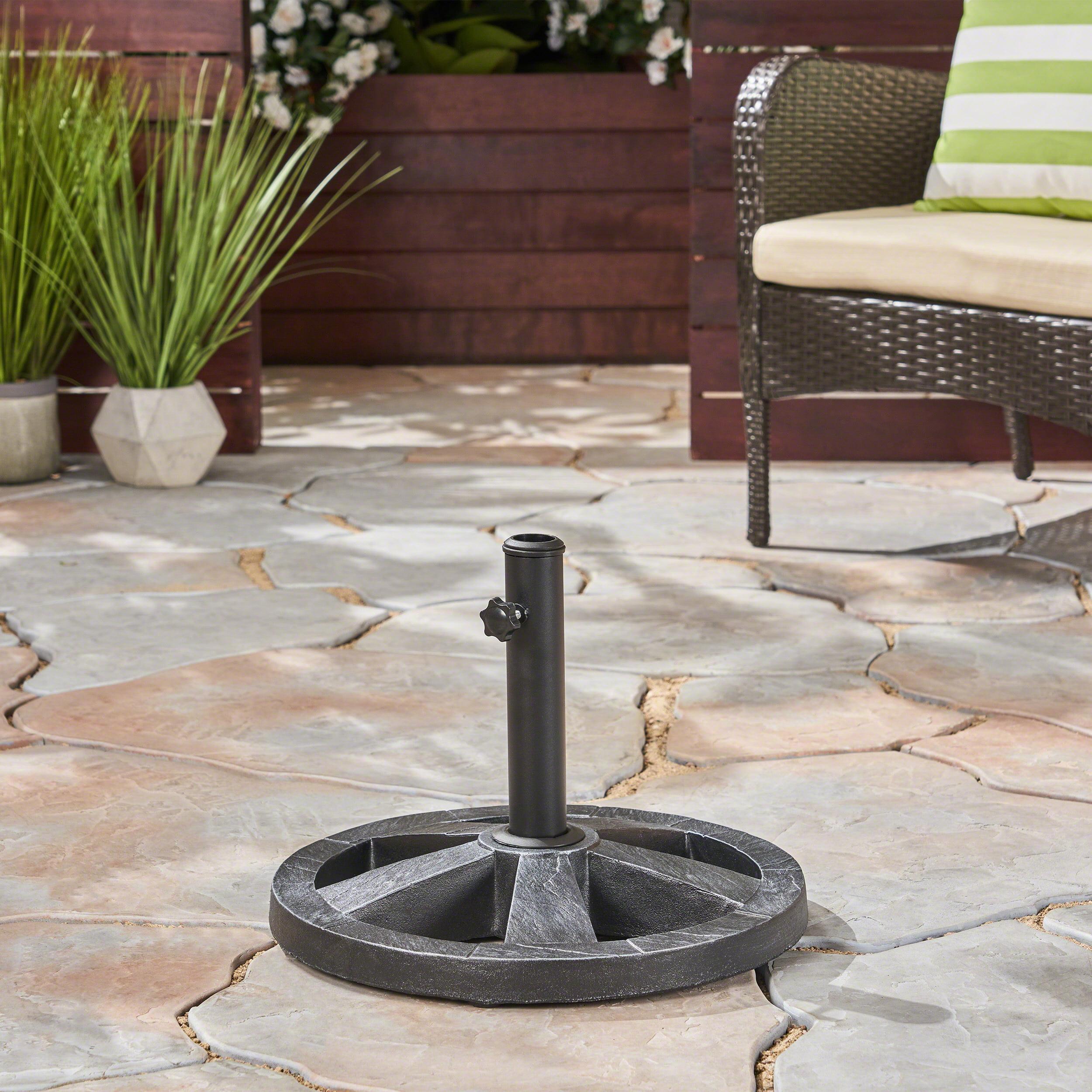 Dustin Outdoor 22Lb Concrete Circular Umbrella Base, Hammered Iron