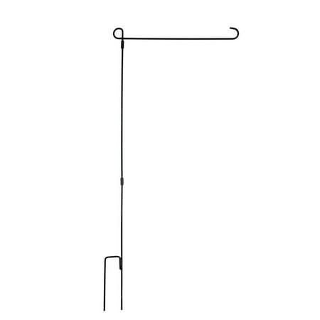 Garden Flag Stand - Premium Wrought Iron Garden Flag Holder - Weather Resistant Black Matte Coating - Easy Assemble Wrought Iron Flag Holder