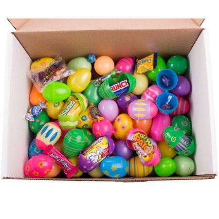 Bulk Filled Egg Hunt Plastic Easter Eggs, Assort Patterns & Colors, Candy & Toys - Vuvuzela Bulk