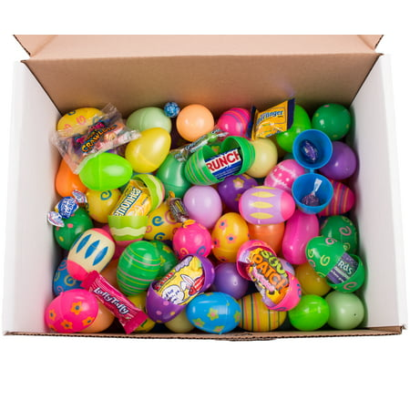 Bulk Filled Egg Hunt Plastic Easter Eggs, Assort Patterns & Colors, Candy & Toys
