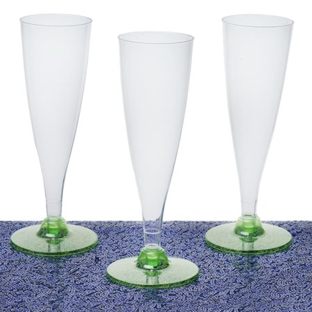 12pcs Green 4.7oz Trendy Hollow Stem Plastic Disposable Champagne Flutes 2PK