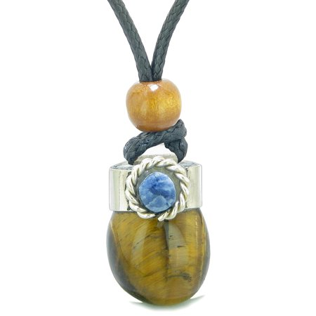 Handcrafted Free Form Tumbled Tiger Eye and Sodalite Cabochon Amulet Pendant Adjustable Necklace