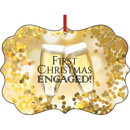 Engagement Ornament for Couples - First Engaged Christmas Ornament Christmas Décor Hanging Christmas Ornaments Unique Modern Novelty Tree Décor Favors