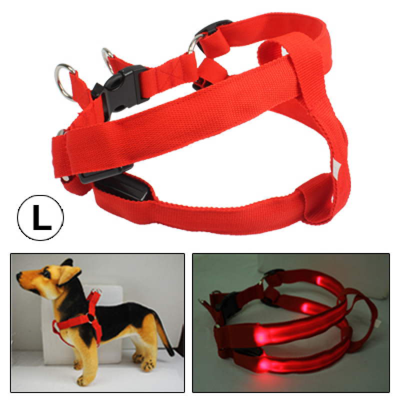 Fashionable LED Dog Shining Nylon Collar for Pet, Size: L