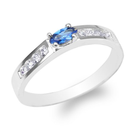 Navy Blue Band (925 Sterling Silver Marquise Dark Blue Colored CZ Beautiful Band Ring Size 4-10 )