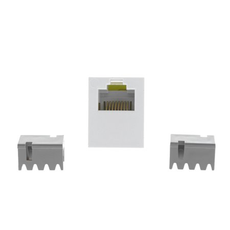 P&S Innovate White Smooth Jack Cat3 RJ45 Category 3 8-Position T568A/B S38-W