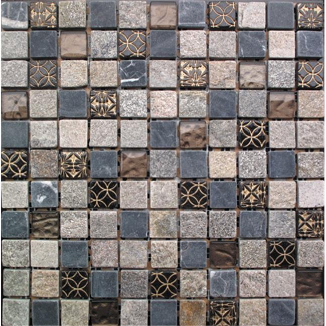 Intrend Tile 1 x 1 Cloudy Sand Stone And Glass Square Tan, Gary, Black And With Gold Accent