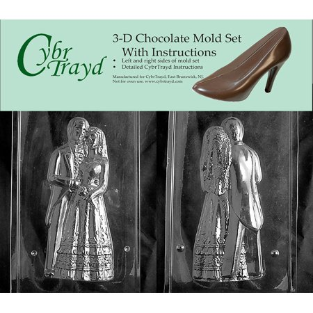 Cybrtrayd W301AB Chocolate Candy Mold, Includes 3D Chocolate Molds Instructions and 2-Mold Kit, 10-Inch, 3D Bride and Groom Bride And Groom Candy Molds