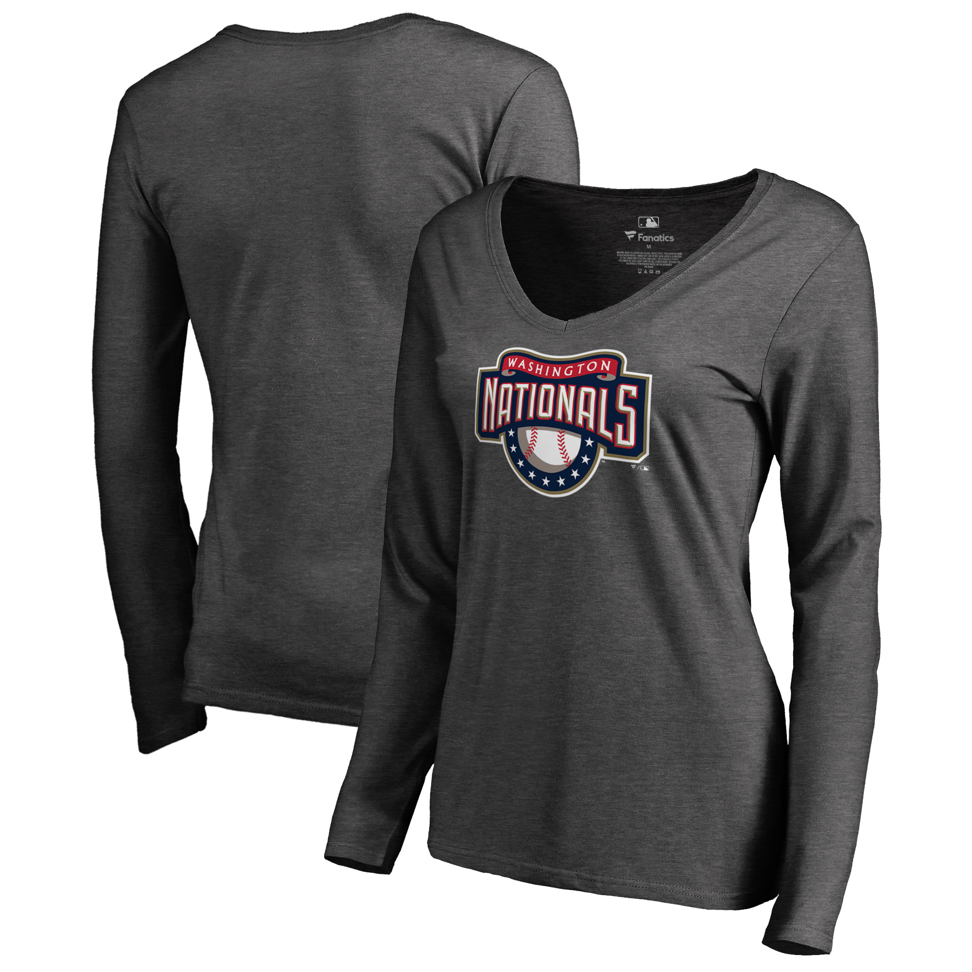 Washington Nationals Fanatics Branded Women's Cooperstown Collection Huntington Long Sleeve V-Neck T-Shirt - Heathered Gray