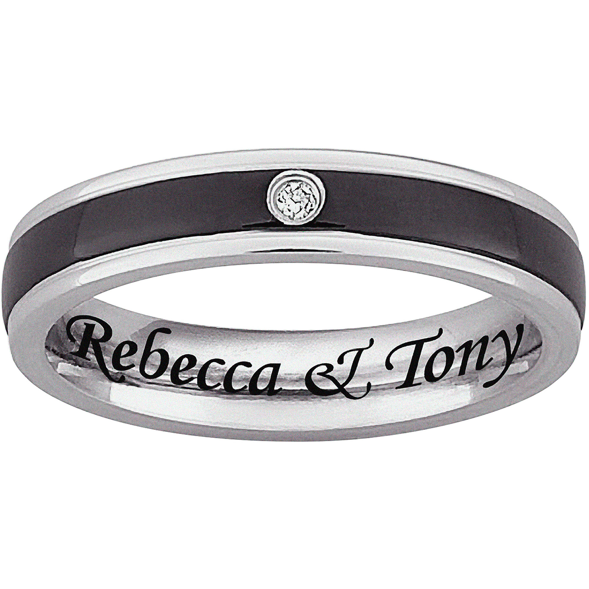 Personalized Black & White Stainless Steel CZ 4mm Ring