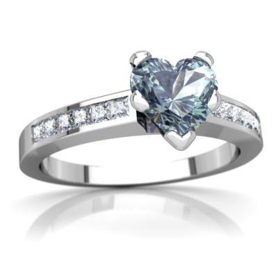 Aquamarine Channel Set Ring in 14K White Gold by