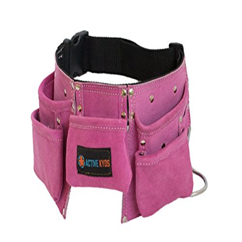PINK Active Kyds Premium Kids Leather Tool Belt / Tool Pouch with Steel Hammer Loops for Construction Play, Kids Costumes / Costumes for Kids or Kids Dress Up