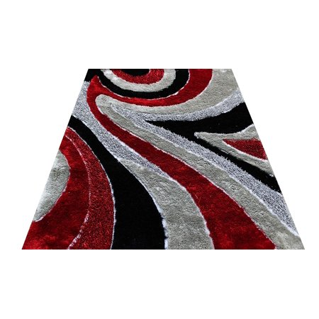 Handmade Red Jasper - Home Shimmer Shag Red Silver Gray Grey Charcoal Black Area Rug, Hand-Tufted, Hand Made ~8 ft' x 10 ft' (Signature 70 Red)