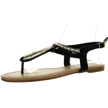 Sunny Day Glint-5 Womens T-Strap Beaded Slingback Ankle Strap Sandals](Beaded Sandals)