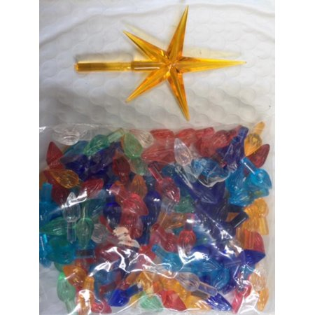 Ceramic Christmas Tree Bulbs and Gold Star - Medium Twist Light Ornaments - Multi Colors - 144 Piece Pack free shipping on this product 1'' L x 3/8'' W overall Stem: 7/16'' L x 3/16'' Dia.