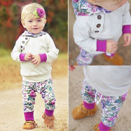 2pcs Newborn Kids Baby Girl Tops Hoodie T-shirt+ Floral Pants Outfit Clothes Set
