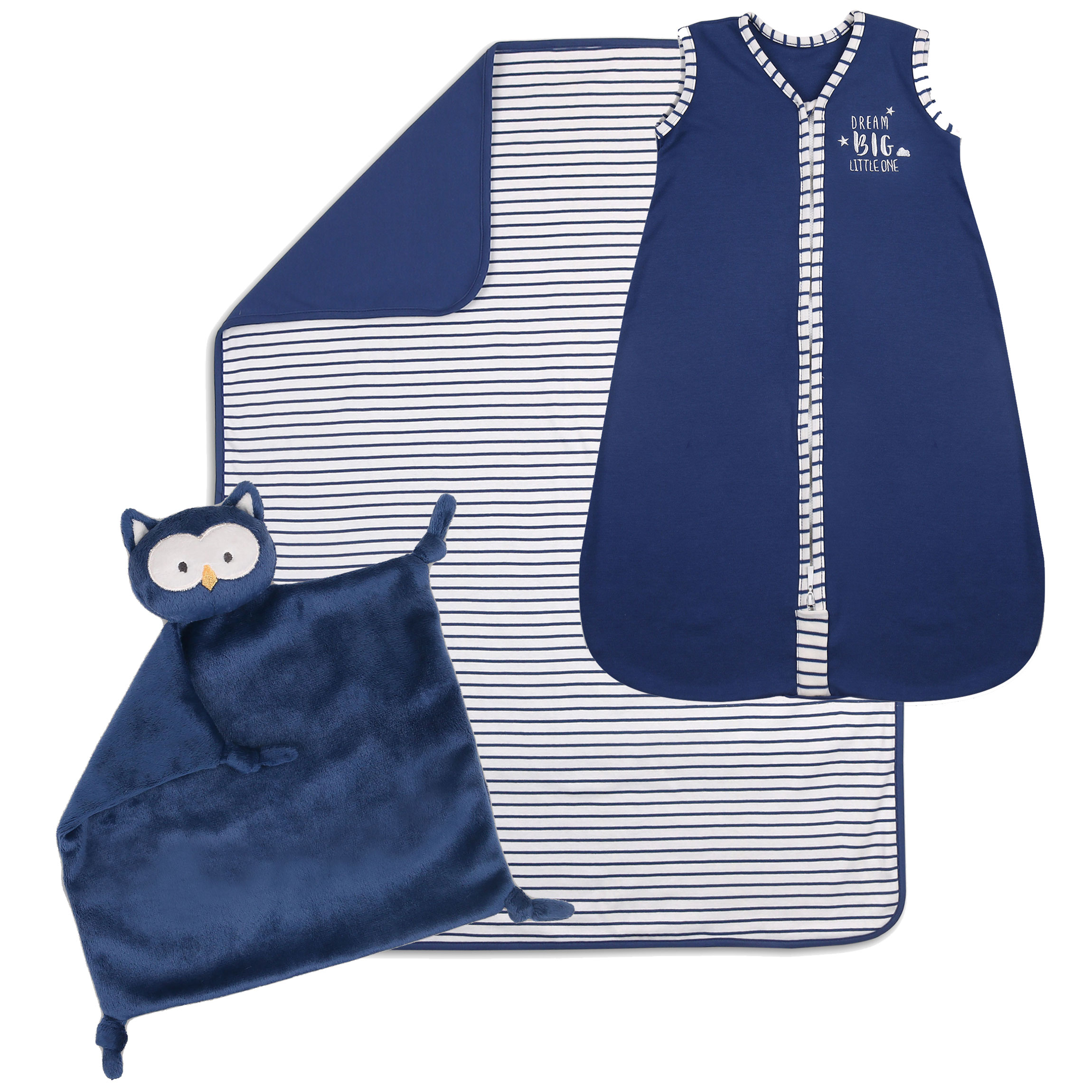 The Peanut Shell Baby Boy Sleep Time 3-Piece Gift Set Navy Blue 100% Lightweight Cotton Sleep Bag, Blanket,... by The Peanut Shell