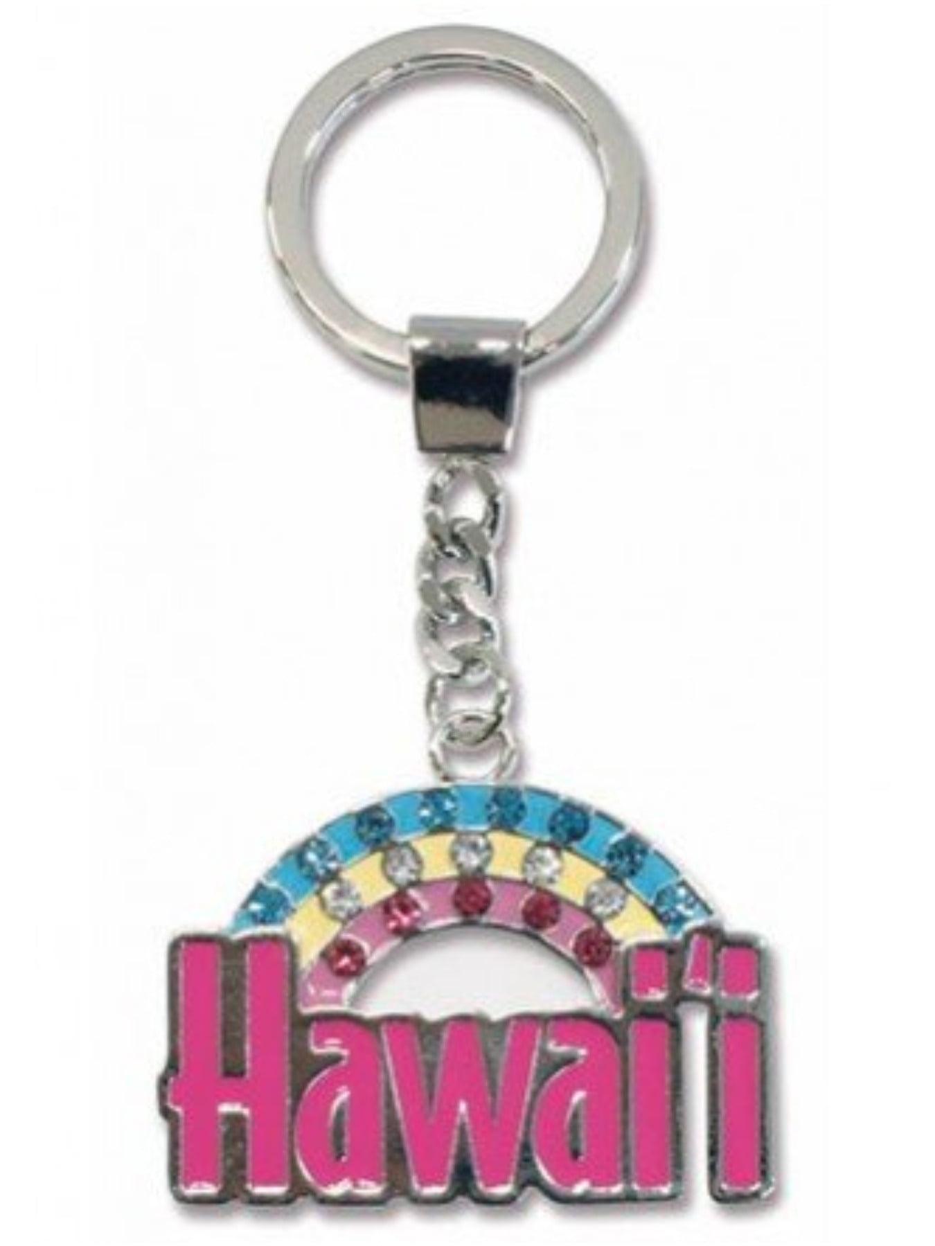 Hawaii Rainbow Metal Bling Keychain