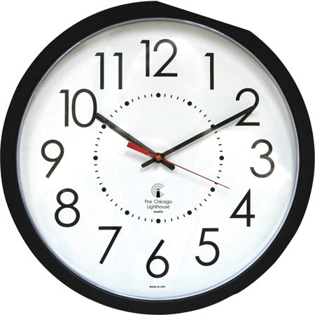 """Chicago Lighthouse, ILC67801103, 14.5"""" Black Electric Wall Clock, 1"""