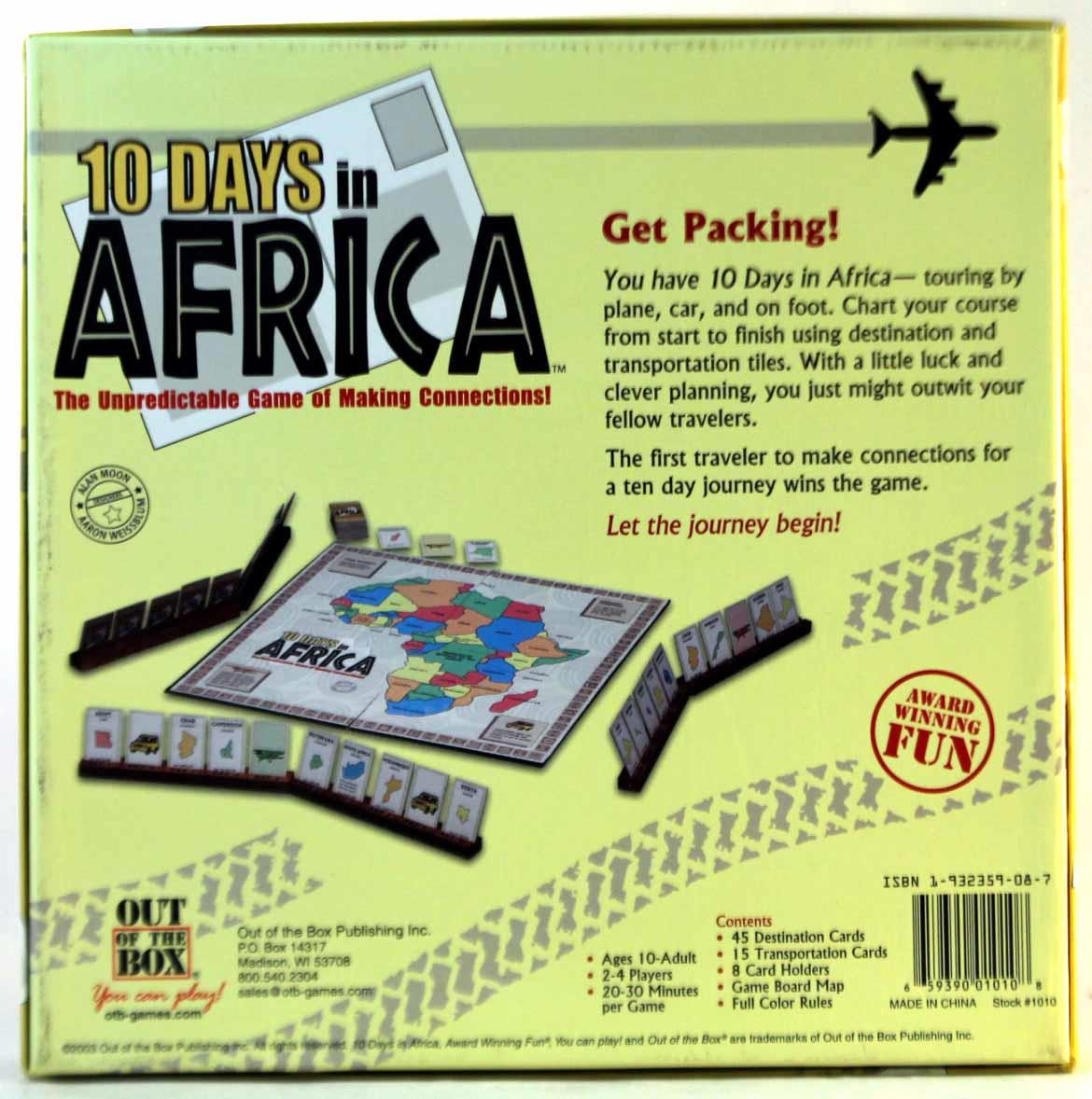 Map Of Africa Games.Out Of The Box 10 Days In Africa Board Game Walmart Com