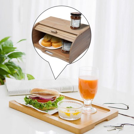 iLH Natural Wooden Roll Top Bread Box Kitchen Food Storage (Bamboo) ()