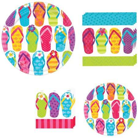 Flip Flop Party Decorations (Party City Bright Flip Flop Tableware Supplies for 60 Guests, Include 2 Sizes of Colorful Plates and Matching)