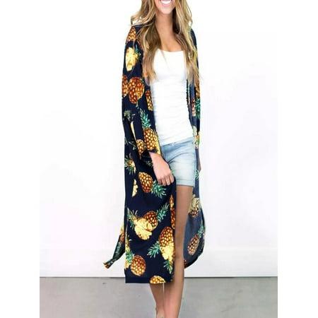 Women Women Summer Pineapple Print Bohemian Kimono Cardigans Blouse Cover Ups