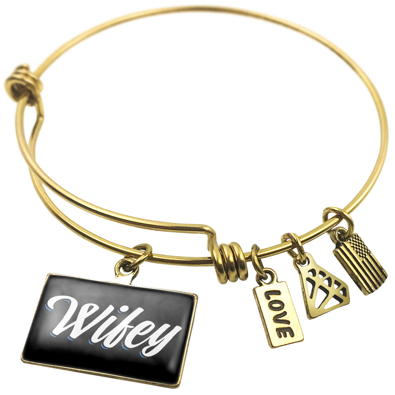 Expandable Wire Bangle Bracelet Classic design Wifey - NEONBLOND