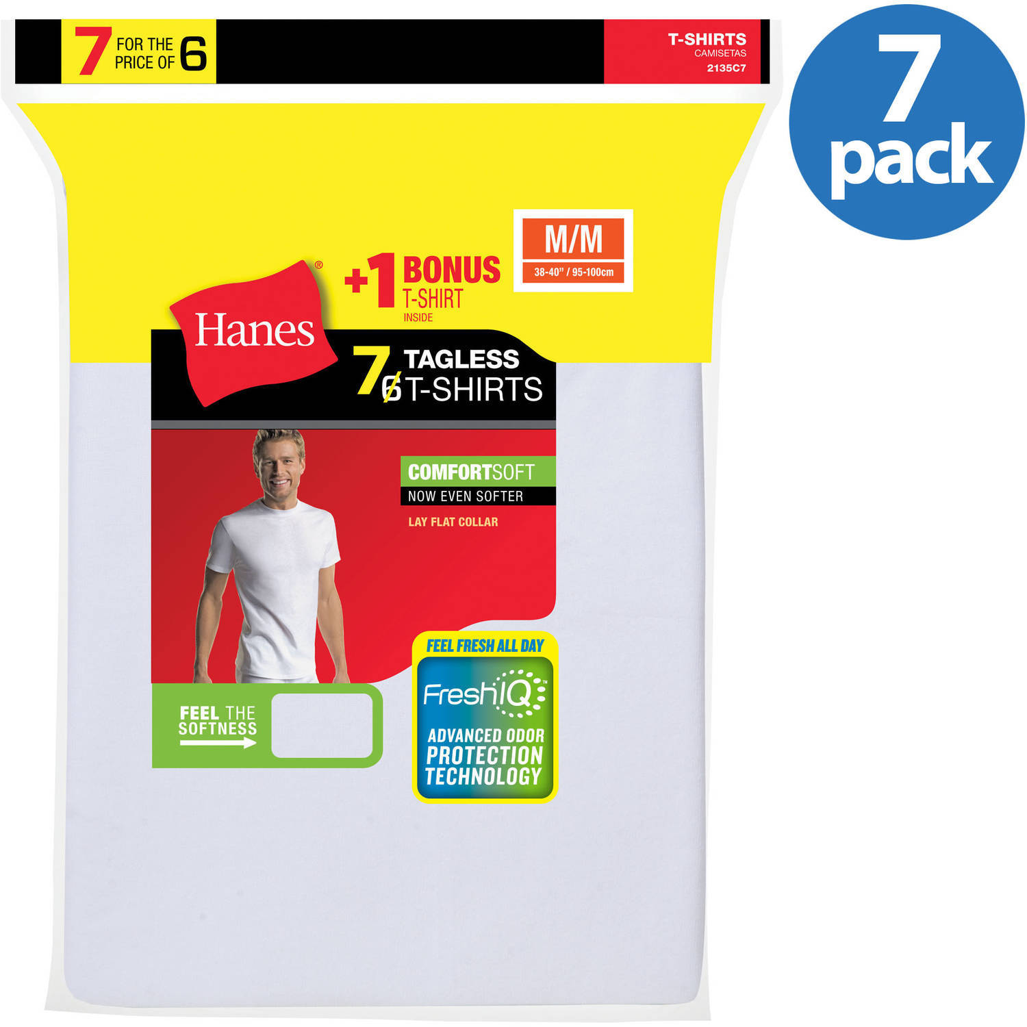 Hanes Men's Fresh IQ White Crew Neck T-Shirt 6+1 Free Bonus Pack