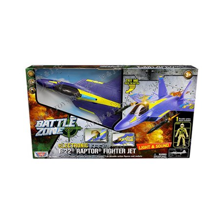 MOTOR MAX - BATTLE ZONE - ELECTRONIC F-22 RAPTOR FIGHTER JET POSEABLE