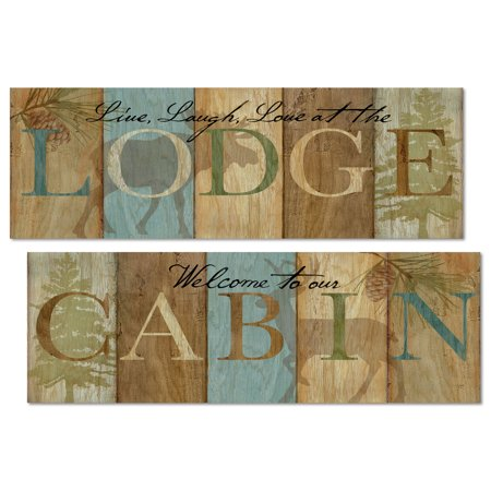 Rustic Blue  Green And Brown  Welcome To Our Cabin  And  Live Laugh Love At The Lodge   Two 18X8in Unframed Paper Posters  Printed On Paper  Not Wood