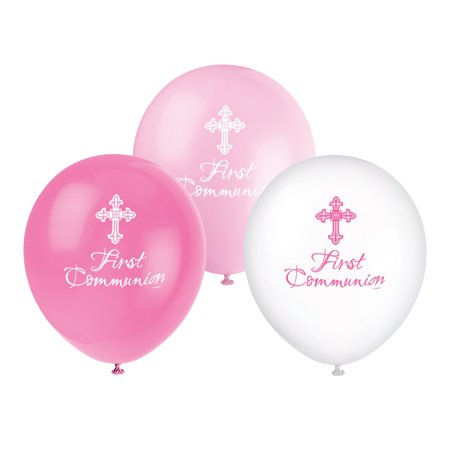 Latex Girl First Communion Radiant Cross Balloons, 12 in, Pink, 8ct