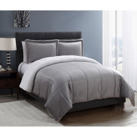 Blue Full Denim Comforter (VCNY Home Solid Micro Mink Sherpa Bedding Comforter Set, Multiple Colors and Sizes)